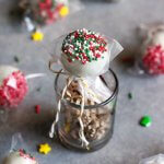 Wrapped Peppermint Chocolate Truffle Pop with Christmas nonpareils.
