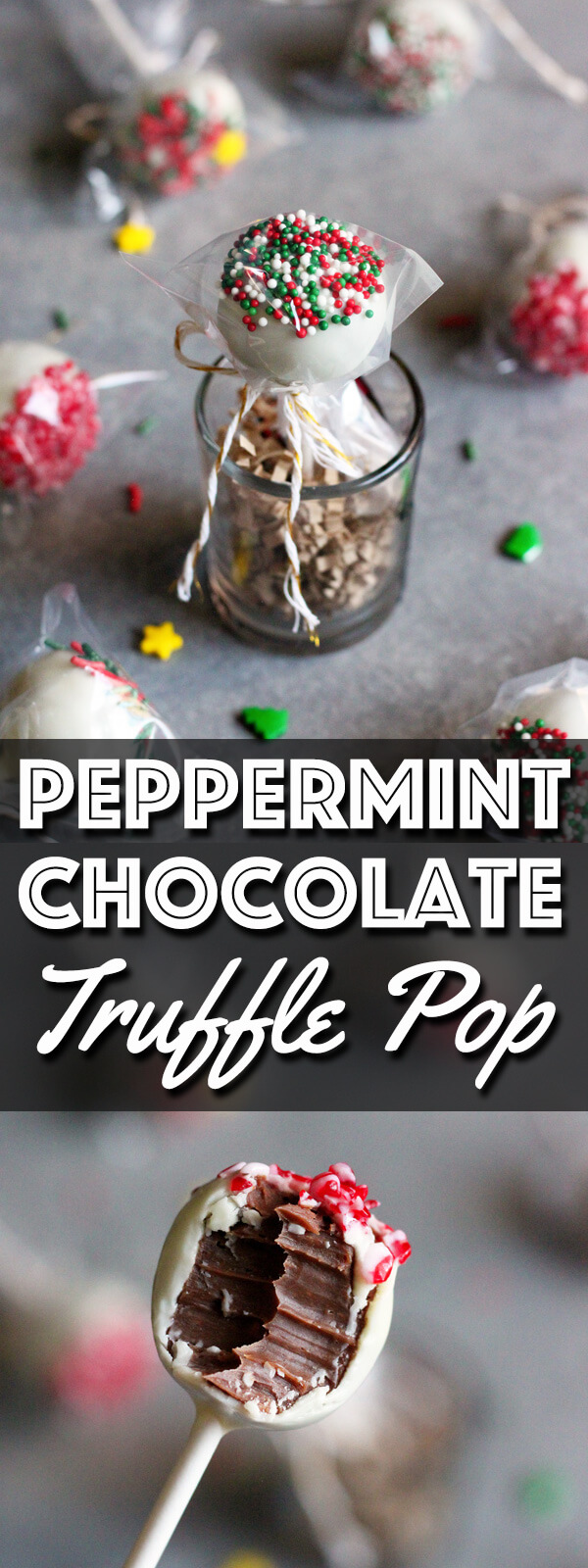 Peppermint chocolate truffle pop long pin collage