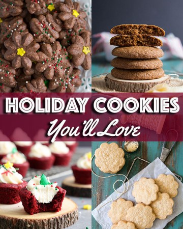 A collage of holiday cookie photos