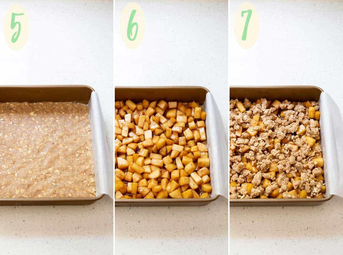 A collage of 3 photos showing how to assemble the apple pie bars for baking