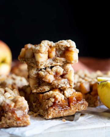 A stack of apple pie oatmeal bars