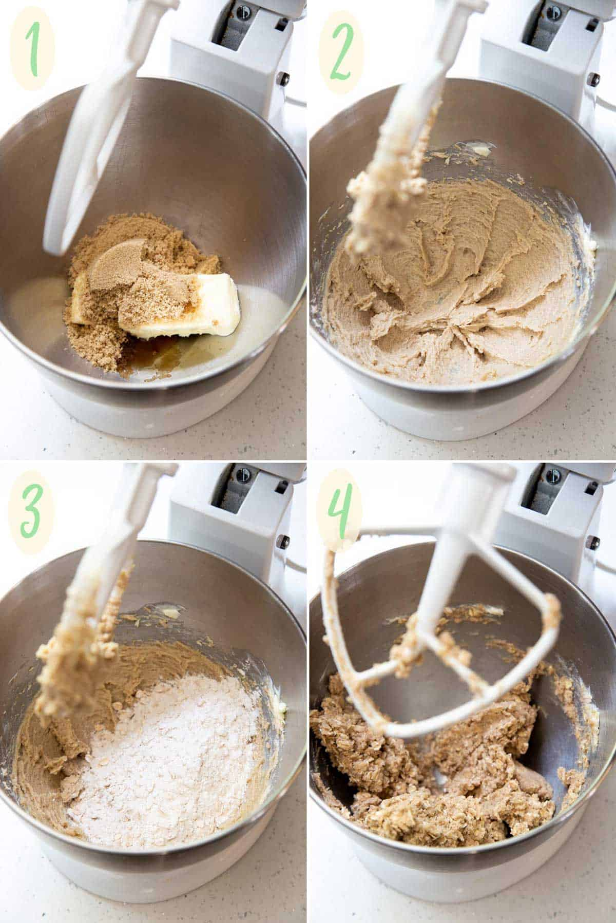 A collage of 4 photos showing how to make the dough for the apple pie bar crust