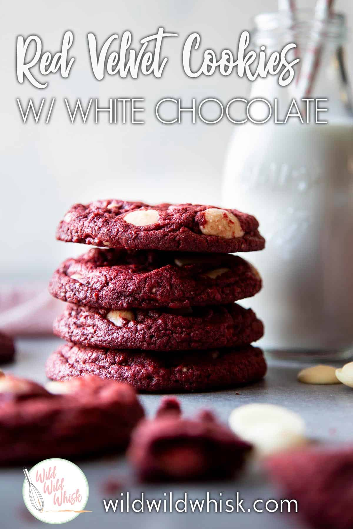Red Velvet White Chocolate Chip Cookies are a fun twist on the classic chocolate chip cookies. They are chewy with just a hint of chocolate and loaded with creamy white chocolate chips. | wildwildwhisk.com