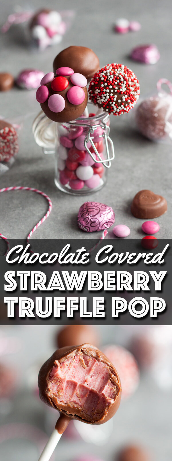 Individually wrapped Chocolate Covered Strawberry Truffle Pop is perfect for Valentine's Day gifting. | wildwildwhisk.com #SendSweetness #CollectiveBias #ad @walmart @mmschocolate @dovechocolateUS