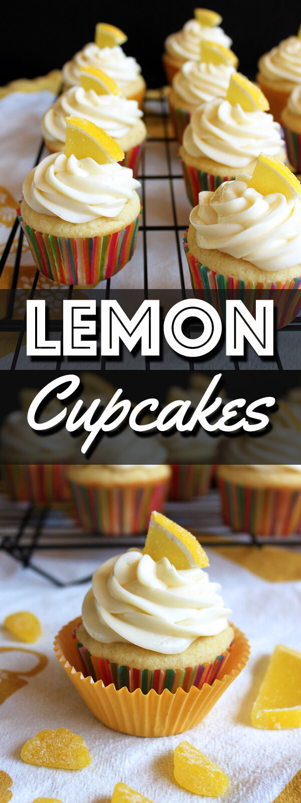 Lemon cupcakes are so refreshing and perfect for anytime of the year. These cupcakes are topped with a generous amount of tangy lemon cream cheese frosting and a piece of lemon candy. | wildwildwhisk.com