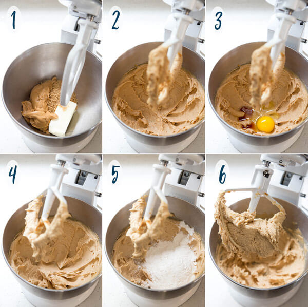 Making Peanut Butter Blossom Cookie Dough in a stand mixer