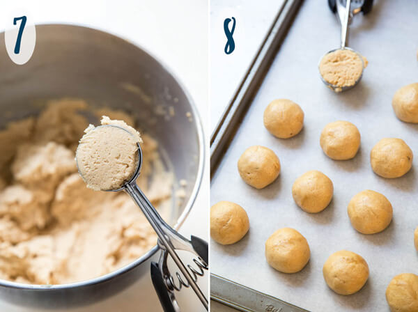 Rolling cookie dough into balls