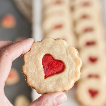 A hand holding up a stained glass cookie