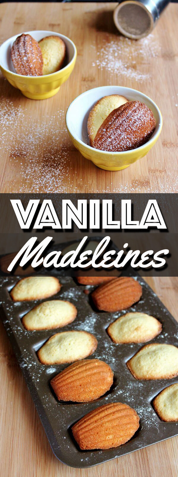 These classic Vanilla Madeleines are buttery and delicious. They make the perfect afternoon snack with tea or the sweetest ending to a meal. | wildwildwhisk.com