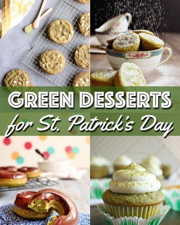 A collage of naturally green desserts