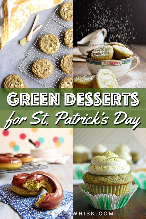 Celebrate St. Patrick's Day this year with some naturally green dessert recipes. No food coloring is required to make these beautiful and delicious green treats! | wildwildwhisk.com