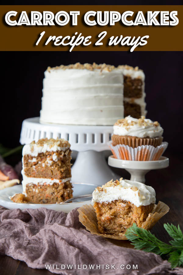 These Carrot Cupcakes are soft and moist, slightly spiced, with a little bit of crunch from the walnuts. And the cream cheese frosting takes the cake home! | wildwildwhisk.com #carrotcake #carrotcupcakes #easter