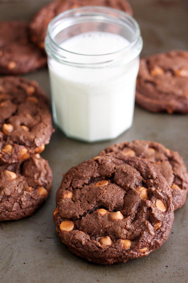 Chocolate Butterscotch Chip Cookies have just the right amount of sweet and salty. The cookies themselves are satisfyingly chocolaty, a must try for chocolate and butterscotch lovers alike. | wildwildwhisk.com #butterscotchchip #cookies