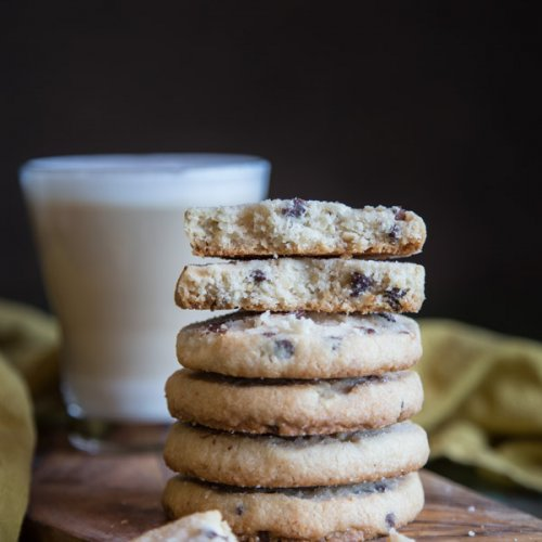 A stack of chocolate chip shortbread