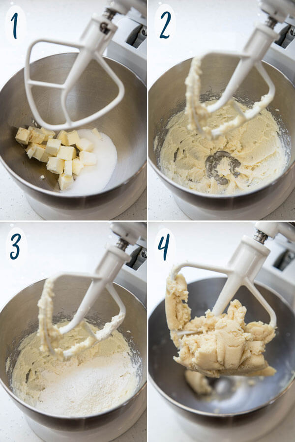 Making shortbread cookie dough in a stand mixer