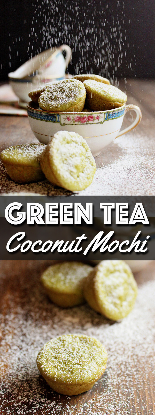 These Green Tea Coconut Mochi are chewy little treats made with coconut milk and sweet rice flour with a touch of delicate Matcha green tea powder. They are gluten free and the green color is completely natural!