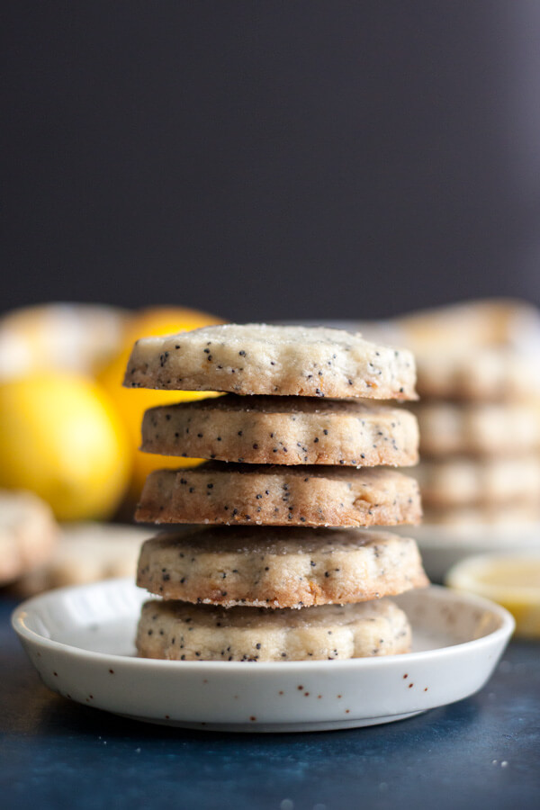 A stack of Lemon Poppy Seed Shortbread Cookies
