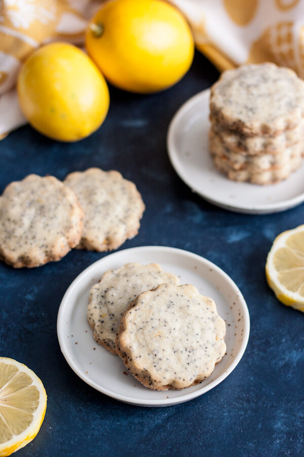 Lemon Poppy Seed Shortbread Cookies on small plates