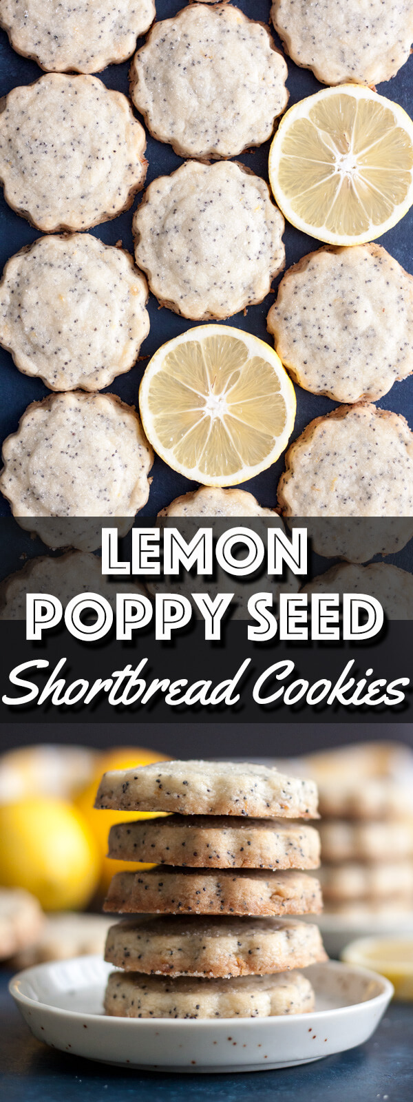 These Lemon Poppy Seed Shortbread Cookies are packed full of poppy seeds and the sweet tangy flavor of lemon. It's the perfect bite to lift you into a happy mood. | wildwildwhisk.com #lemon #poppyseed #shortbread