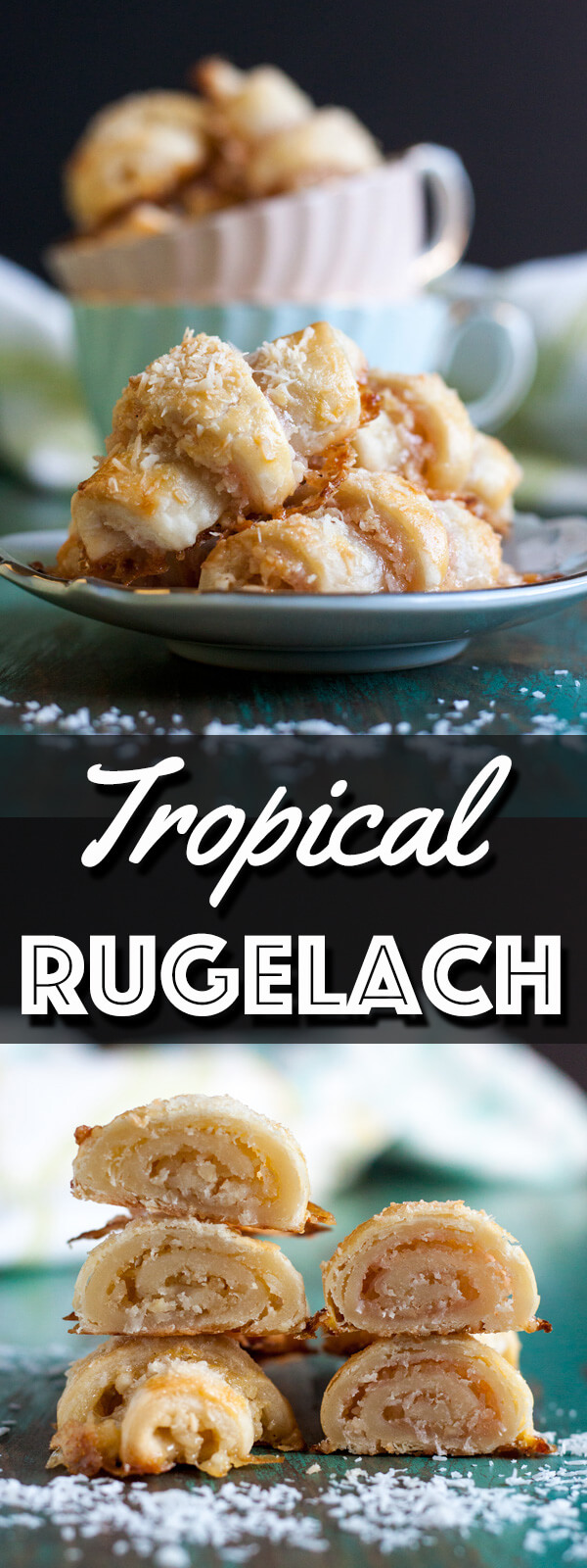 Tropical Rugelach are delicious little bites of tender pastries filled with tropical fruit butter, coconut flake and macadamia nut. They taste like a vacation in your mouth. | wildwildwhisk.com #rugelach #tropical