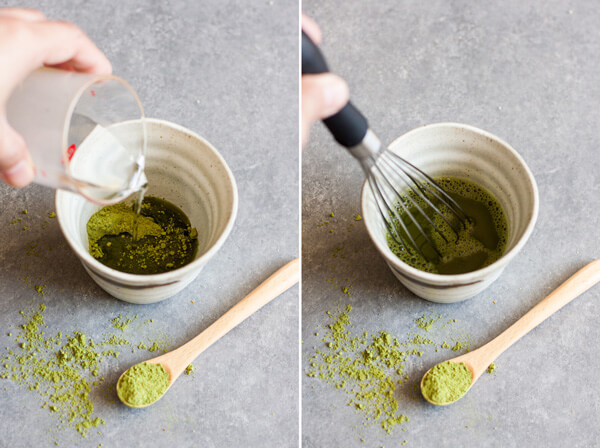 Water is added to Matcha powder and whisked