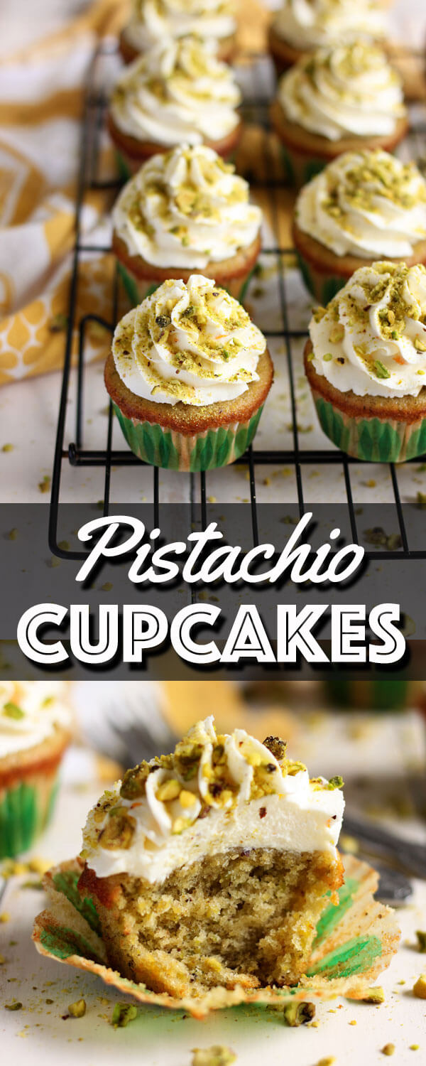 These Pistachio Cupcakes with Orange Mascarpone Frosting are made with real pistachio, no pudding mix allowed! The fluffy orange mascarpone whipped cream frosting adds a fresh citrus taste that pairs perfectly with these little bites of heaven. | wildwildwhisk.com #pistachio #cupcakes