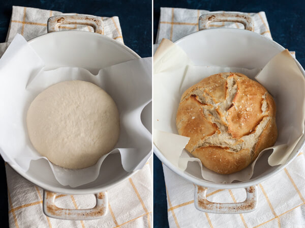 Easy No Knead Artisan Bread - unbaked/baked