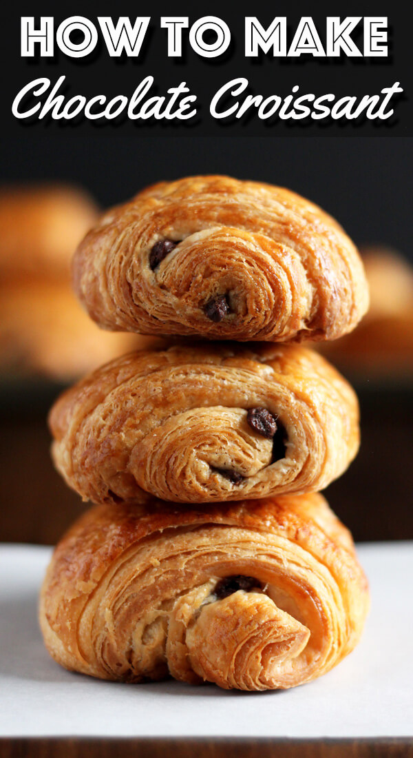 Flaky and buttery homemade Chocolate Croissant will make your morning so much more delicious. Now this is something worth waking up for.   wildwildwhisk.com #croissant #chocolatecroissant