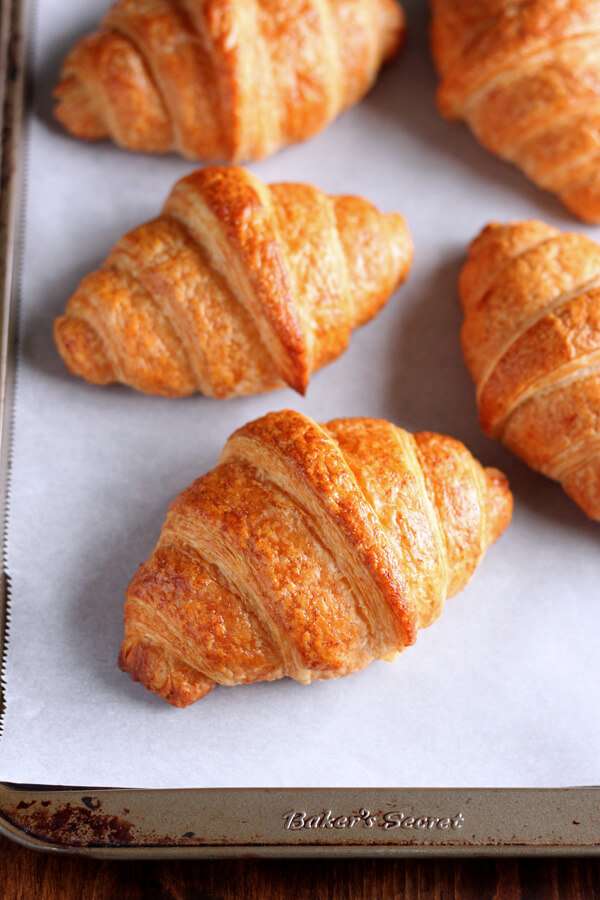 How to make croissant - Baked Croissants on a baking sheet