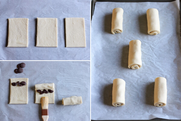 Chocolate Croissant - assembling the chocolate filling