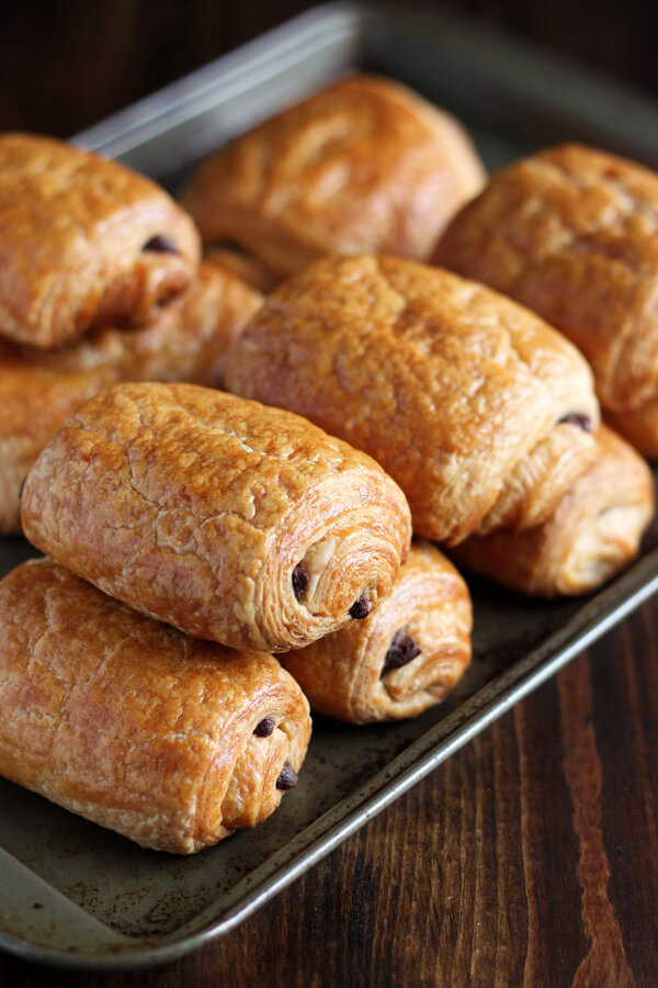 Chocolate Croissants on a baking tray