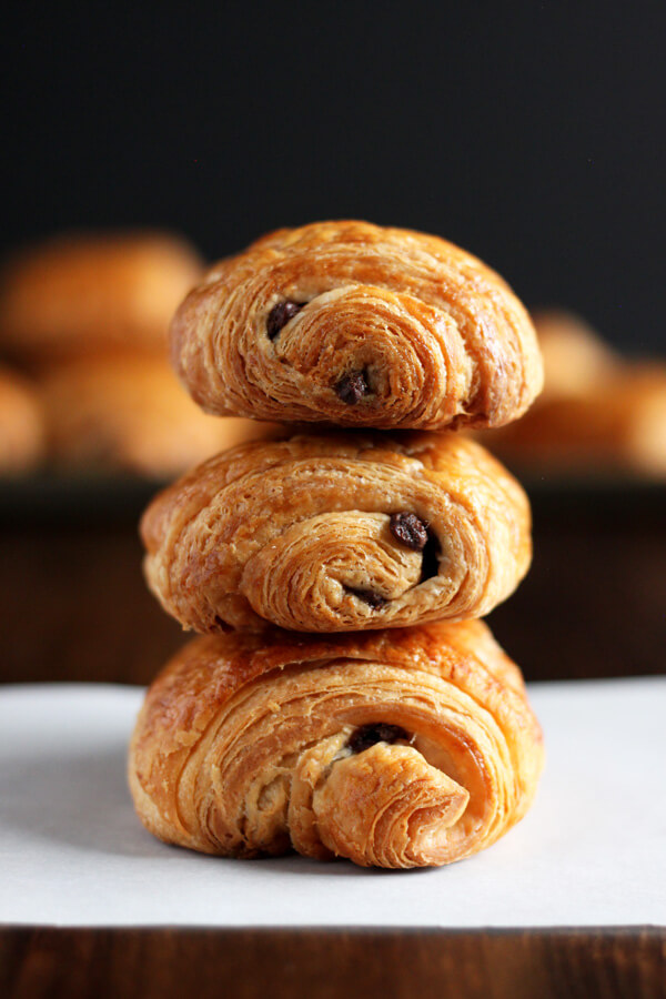 Stack of 3 chocolate croissants