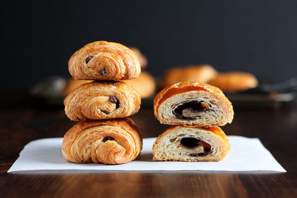 Chocolate Croissants and inside texture