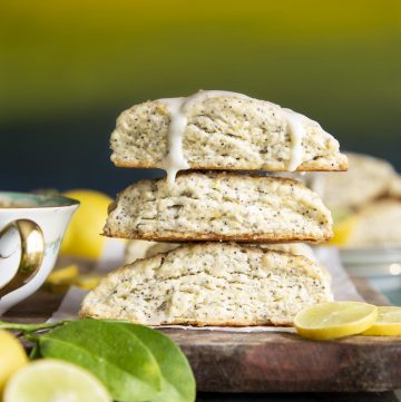 A stack of 3 Lemon Poppy Seed Scones