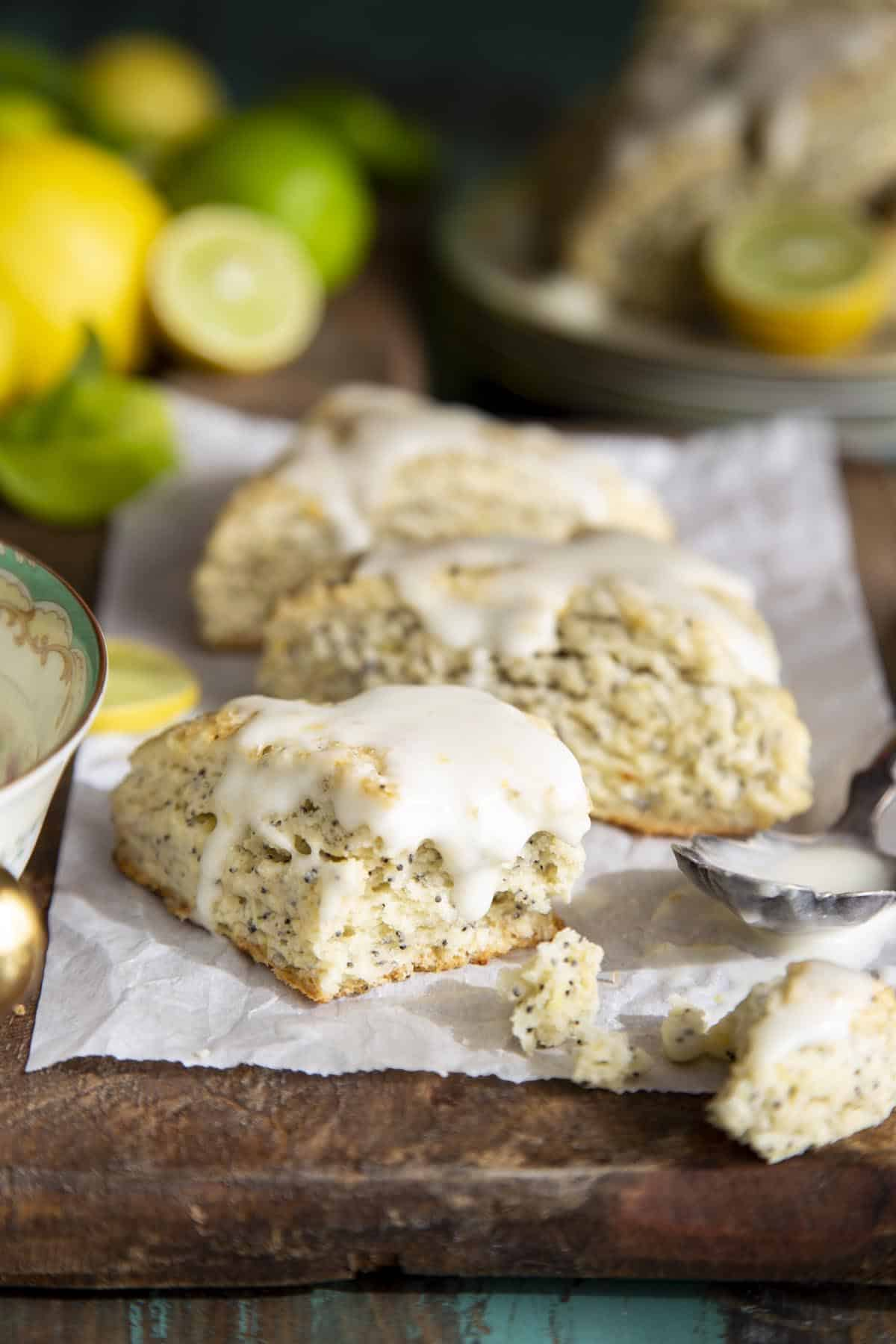 Lemon Poppy Seed Scones with Lemon Cream Cheese Glaze