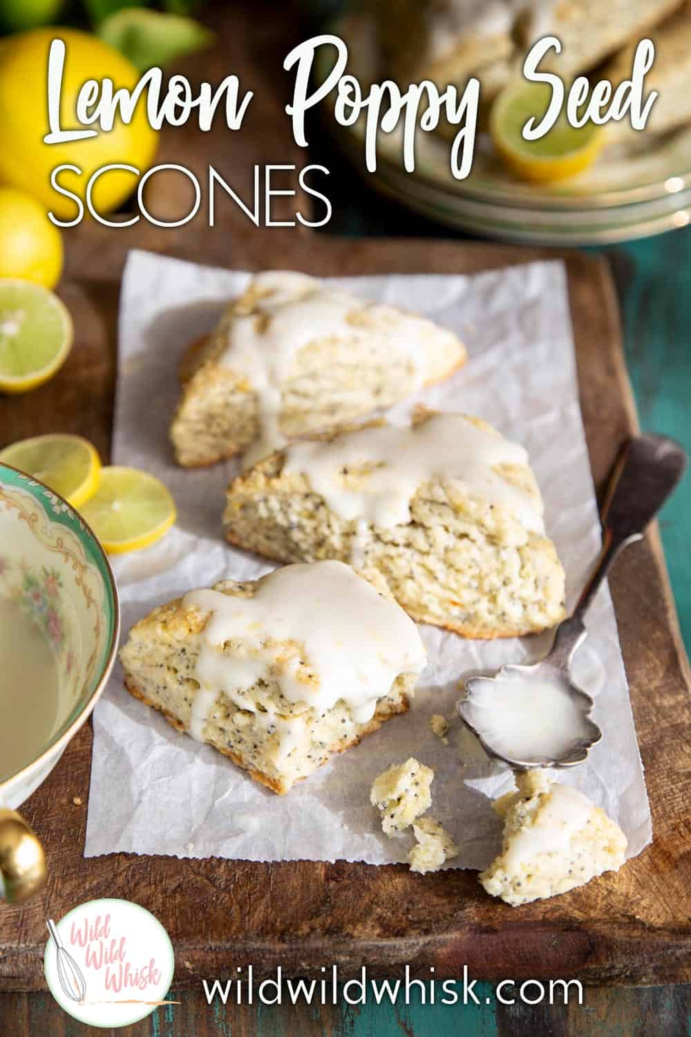 These flaky and creamy Lemon Poppy Seed Scones with Lemon Cream Cheese Glaze are great for breakfast with a cup of coffee, or as an afternoon snack with a cup of tea. | wildwildwhisk.com #lemon #scones #poppyseeds