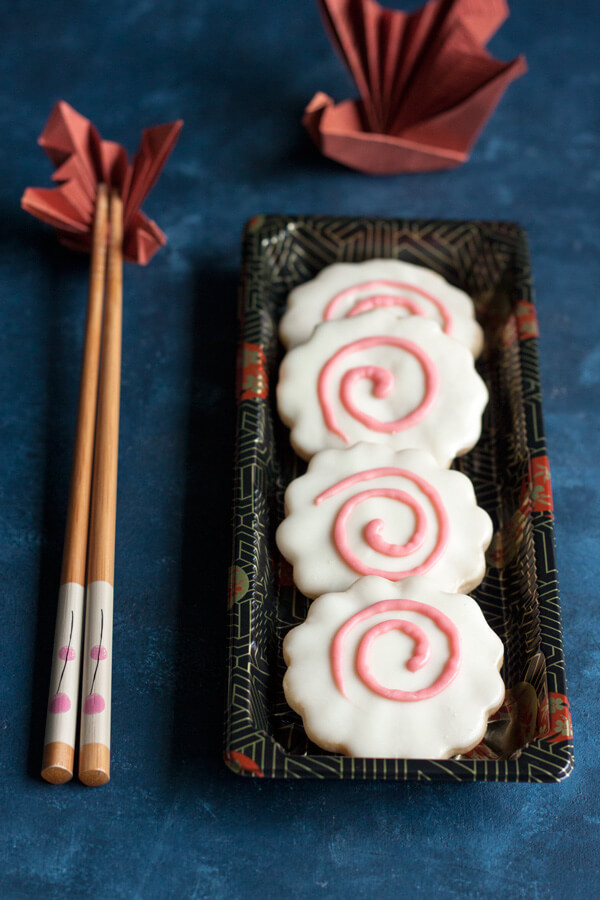 Narutomaki Shortbread Cookies in a Japanese bento box