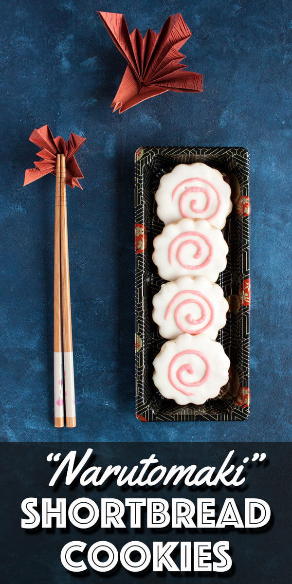 "These Narutomaki Shortbread Cookies are made with classic butter shortbread cookies, coated in white chocolate and decorated with pink dyed white chocolate to look like the Japanese fish cake - ""narutomaki"". 