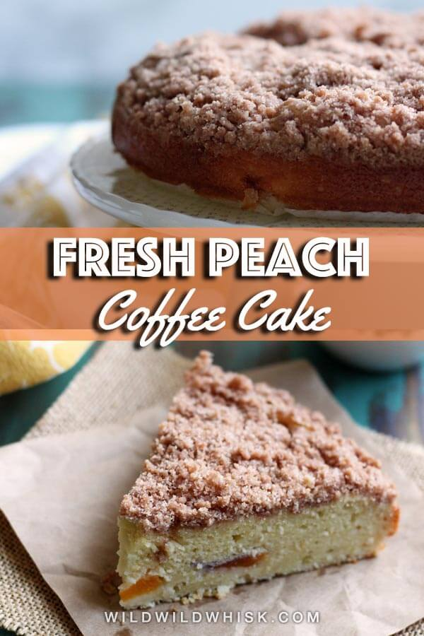 This Peach Coffee Cake has a wonderful crumbly cinnamon streusel topping. The addition of cream cheese in the batter yields an exceptionally moist cake! | wildwildwhisk.com #peach #coffeecake