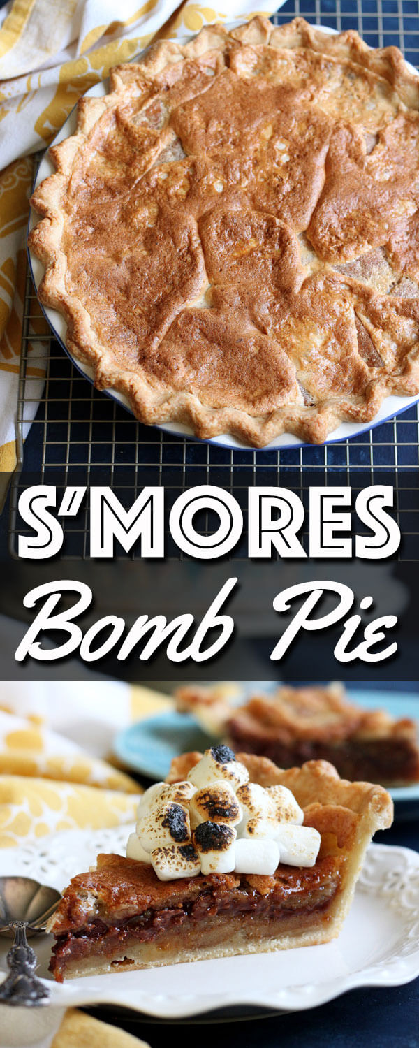 This S'mores Bomb Pie tastes like campfire s'mores on steroid. It is an intensely decadent dessert that will blow your mind! | wildwildwhisk.com #smores #pie