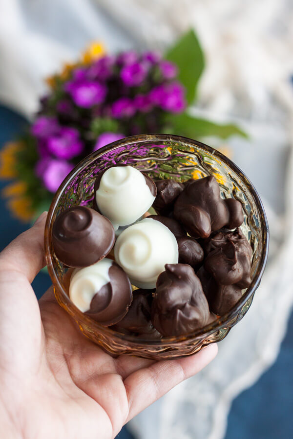 Chocolate Covered Macadamia Nuts in a nut bowl