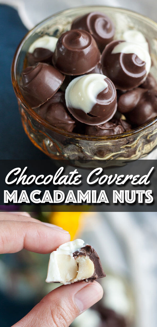 Two-ingredient homemade Chocolate Covered Macadamia Nuts are so easy to make and you can customize with the chocolate of your choosing. They are the perfect snacks or edible gifts that will remind you of the Hawaiian island vibes. | wildwildwhisk.com #chocolate #macadamianuts