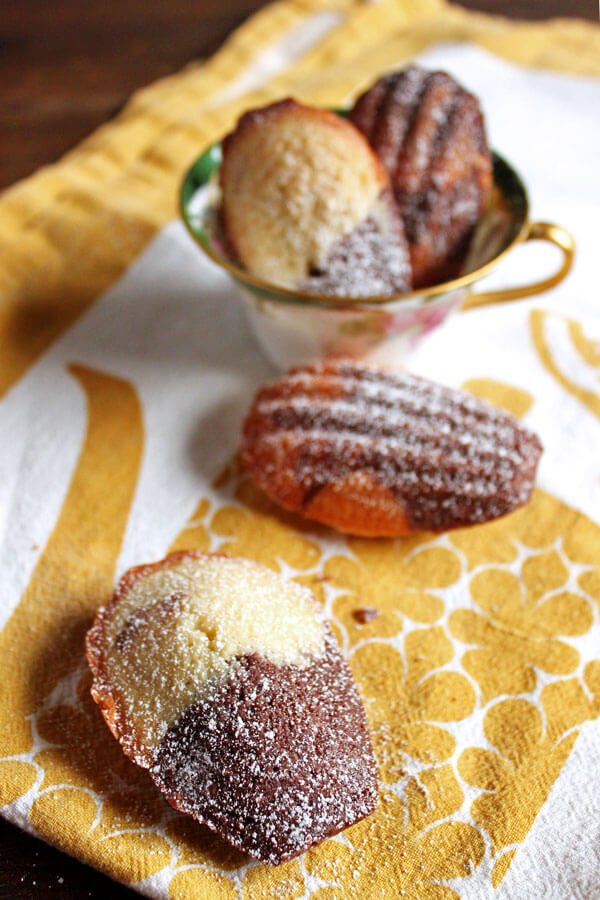 Chocolate Marble Madeleines dusted with powder sugar in a tea cup