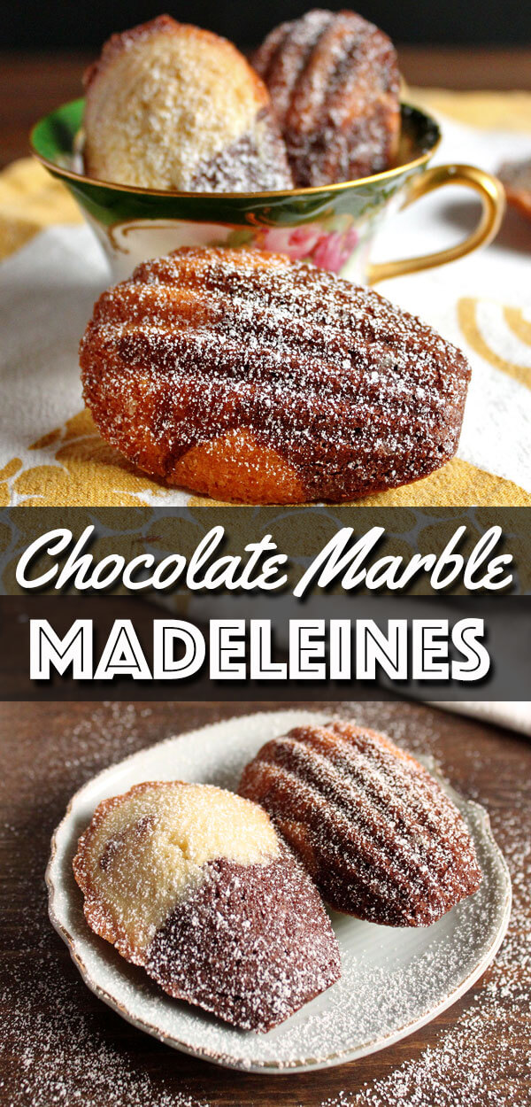 If you can't decide between chocolate and vanilla, why not go for both? These delicious Chocolate Marble Madeleines will solve your dilemma. You can never go wrong with buttery madeleines, they're great with both coffee and tea. | wildwildwhisk.com #madeleines #marblemadeleines