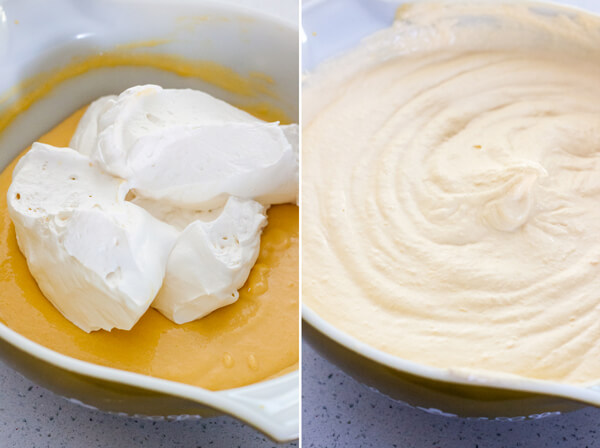 How to make No Churn Mango Ice Cream: add whipped cream