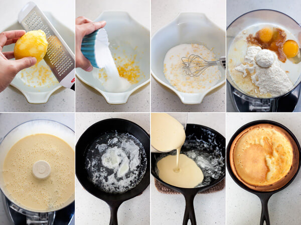 Process photos for making Lemon Dutch Baby