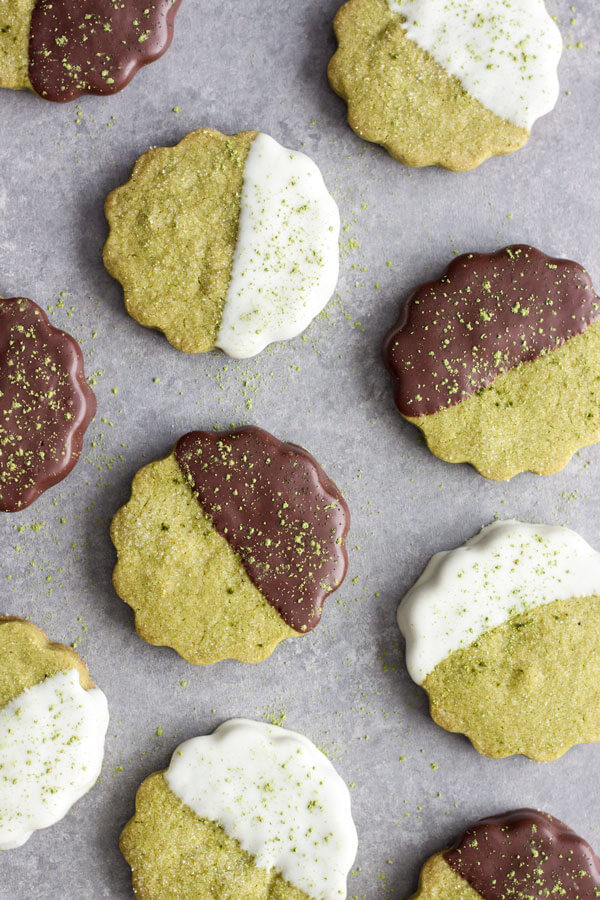Chocolate dipped Matcha Green Tea Shortbread Cookies