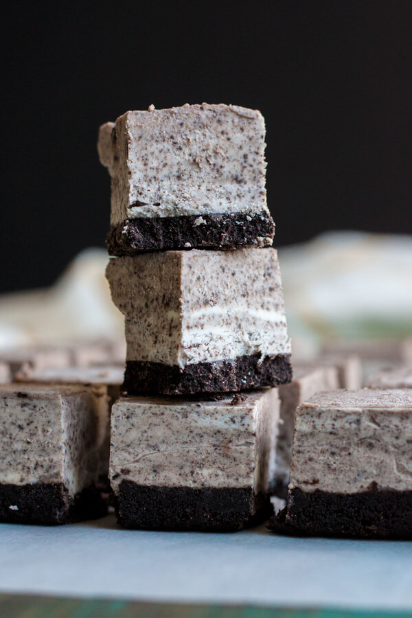 A stack of No-Bake Cookies and Cream Cheesecake Bites