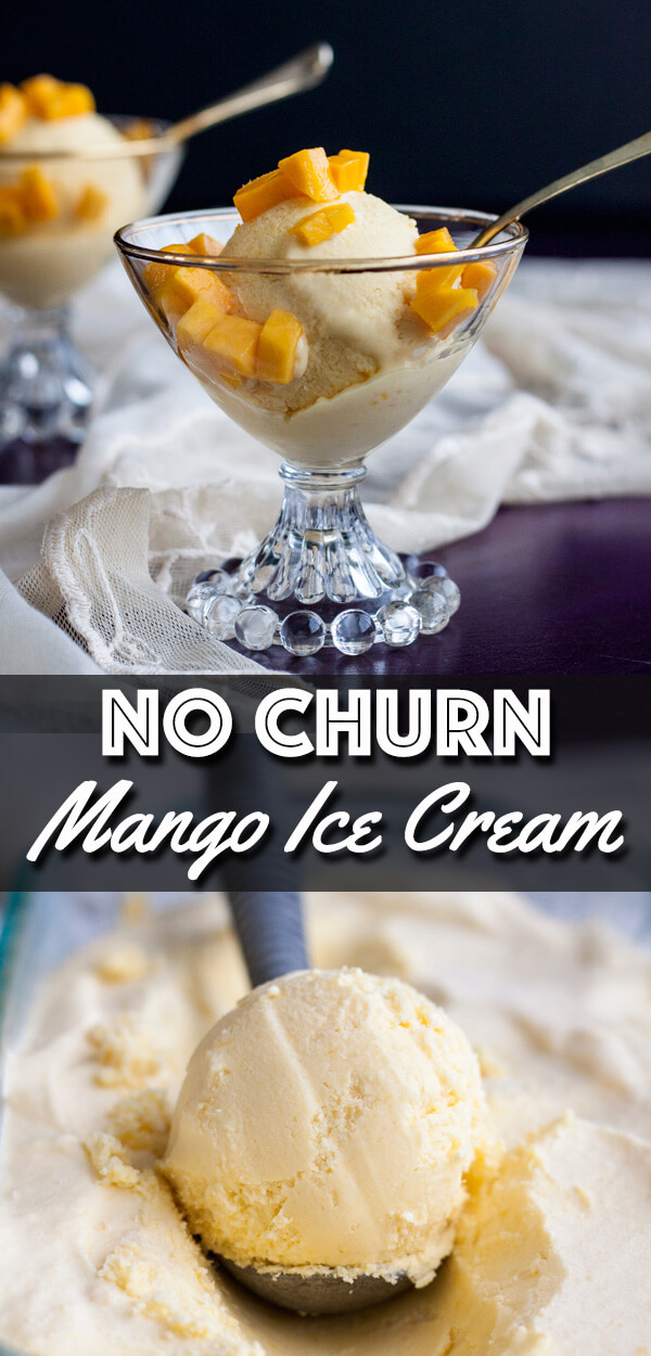 This easy No Churn Mango Ice Cream has just four ingredients and comes together faster than you can ever imagine. It is extremely creamy and rich, full of mango flavor and best of all not too sweet, a great treat for hot summer days. | wildwildwhisk.com #mango #icecream #nochurnicecream