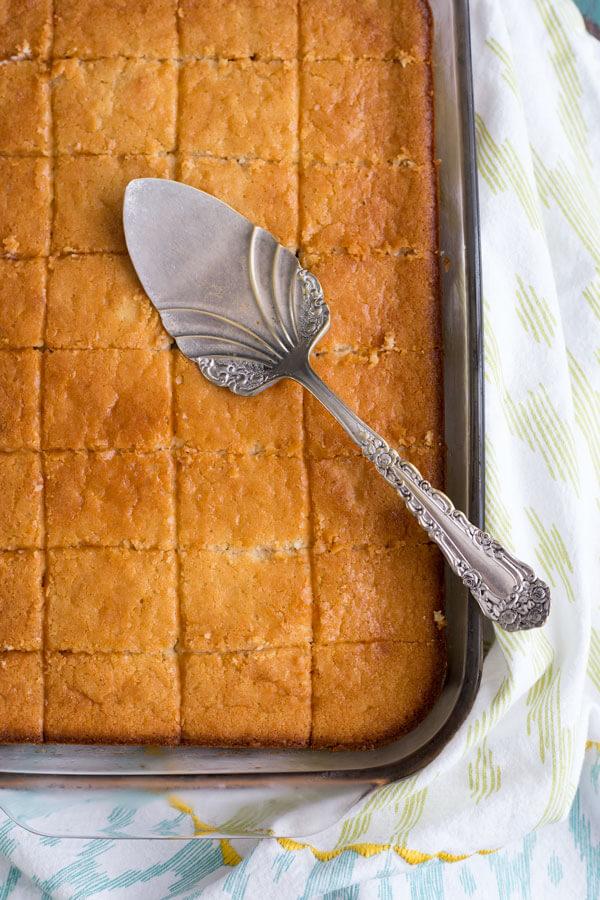 Golden brown Hawaiian Butter Mochi in a baking pan
